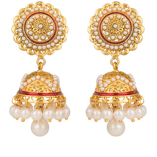 Rajwada Arts Brass Pink Enamel White Stone Floral Jhumki Earrings