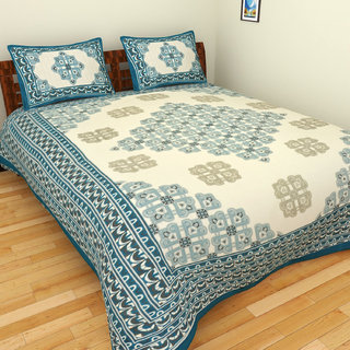 BleuIndus 100% Cotton Premium Blue Printed Bedsheet with 2 Pillow Covers