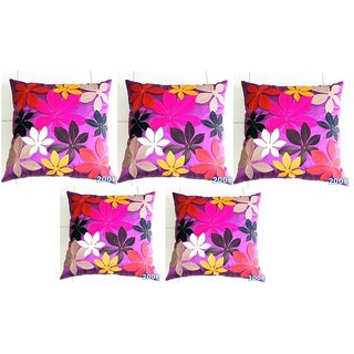 Felt Flower Patch Cushion Cover Purple(5 Pcs Set)