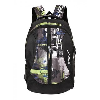 Justcraft Black And Green Water Resistant Backpack