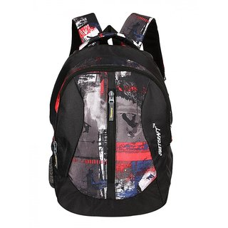 Justcraft Black And Red Water Resistant Backpack