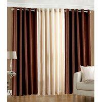 Hard Rock Pack Of 2 Brown & 1 Cream Plain Eyelet Door Curtain
