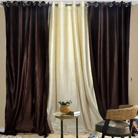 Combo Pack Of 2 Dark Brown & 1 Cream Plain Eyelet Door Curtain