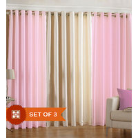 Combo Pack Of 2 Light Pink & 1 Cream Eyelet Door Curtain
