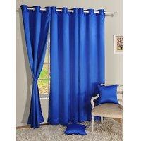 Set Of 3 Crush Plain Eyelet Door Curtain - Blue