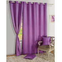 Set Of 3 Crush Plain Eyelet Door Curtain - Purple