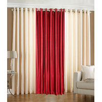 Combo Pack Of 2 Cream & 1 Maroon Eyelet Door Curtain