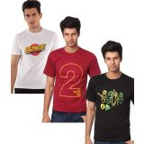 Weardo Combo Of 3 Printed T-Shirts (Bazinga, 2 Are Betterthan 1,4 Play)