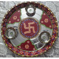 Handmade Decorative Pooja Thali With Bowl- Swastic Design (Large).