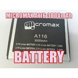 GENUINE MICROMAX A116 Battery-3000MAH FOR MICROMAX CANVAS HD-Battery 4 Micromax