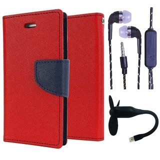 Wallet Flip Cover For Reliance Lyf Water 1  (Red) With 3.5mm TARANG Stereo Sound Earphones with Mic + Mini Flexible USB Fan(Color May vary)