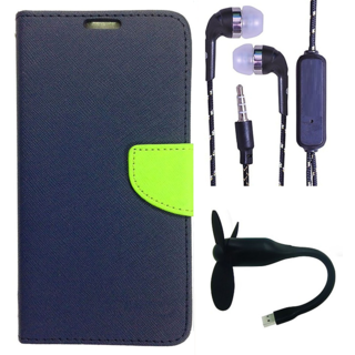 Wallet Flip Cover For Samsung Galaxy J2 (2016)  (Blue) With 3.5mm TARANG Stereo Sound Earphones with Mic + Mini Flexible USB Fan(Color May vary)