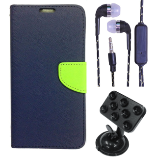 Wallet Flip Cover For Lenovo A1000  (Blue) With 3.5mm TARANG  Earphones with Mic + Fabric 3.5 mm Aux Cable-1 Meter (Color May vary)