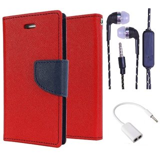 Wallet Flip Cover For Micromax Canvas DOODLE A111  (Red) With 3.5mm TARANG  Earphones with Mic + 3.5mm Stereo Jack Splitter Cable(Color May vary)