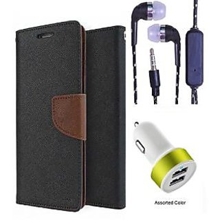 Wallet Flip Cover For Micromax Bolt S302   (Brown) With 3.5mm TARANG  Earphones with Mic + 2 Port USB Car Charger Adapter(Color May vary)