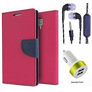 Wallet Flip Cover For Micromax Canvas Colours A120  (Pink) With 3.5mm TARANG  Earphones with Mic + 2 Port USB Car Charger Adapter(Color May vary)