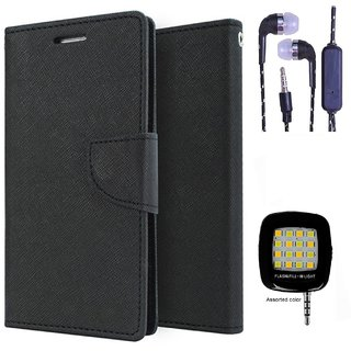 Wallet Flip Cover For HTC Desire 516  (Black) With 3.5mm TARANG  Earphones with Mic + Mini Selfie Flash Light (Color May vary)