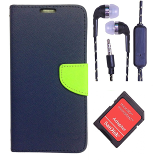 Wallet Flip Cover For Reliance Lyf Flame 2  (Blue) With 3.5mm TARANG  Earphones with Mic + microSD Memory Card Adapter(Color May vary)