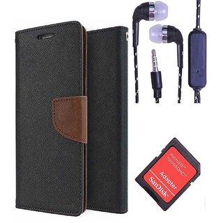 Wallet Flip Cover For HTC Desire 516  (Brown) With 3.5mm TARANG  Earphones with Mic + 2 Port USB Car Charger Adapter(Color May vary)