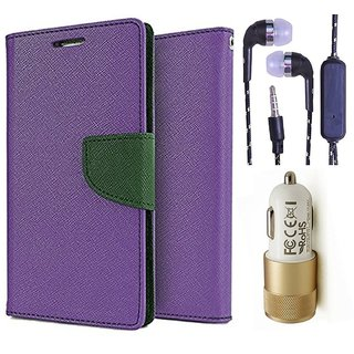Wallet Flip Cover For Sony Xperia M5 Dual  (Purple) With 3.5mm TARANG  Earphones with Mic + 2 Port Metal Car Charger(Color May vary)