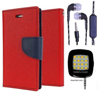 Wallet Flip Cover For Moto E 2  (Red) With 3.5mm TARANG  Earphones with Mic + Mini Selfie Flash Light (Color May vary)