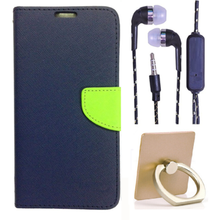 Wallet Flip Cover For Samsung Galaxy J2  (Blue) With 3.5mm TARANG Stereo Sound Earphones with Mic + Ring Stand Holder (Color May vary)