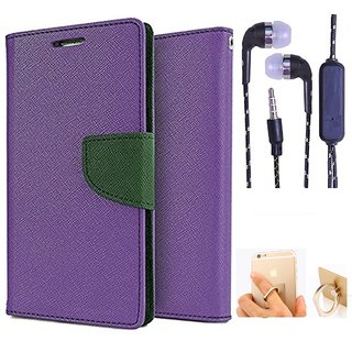 Wallet Flip Cover For Samsung Galaxy Note 3  (Purple) With 3.5mm TARANG Stereo Sound Earphones with Mic + Ring Stand Holder (Color May vary)