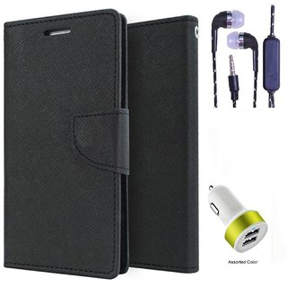 Wallet Flip Cover For Reliance Lyf Wind 5  (Black) With 3.5mm TARANG  Earphones with Mic + 2 Port USB Car Charger Adapter(Color May vary)
