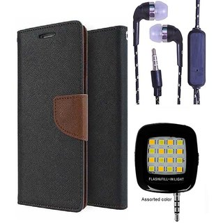 Wallet Flip Cover For Asus Zenfone 5  (Brown) With 3.5mm TARANG  Earphones with Mic + Mini Selfie Flash Light (Color May vary)