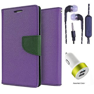 Wallet Flip Cover For Samsung Galaxy A5 (2016)  (Purple) With 3.5mm TARANG  Earphones with Mic + 2 Port USB Car Charger Adapter(Color May vary)