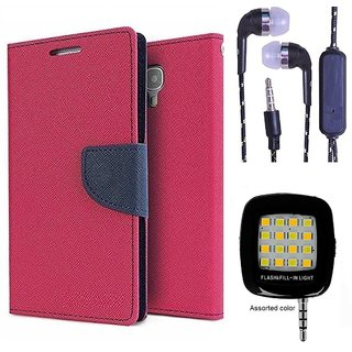 Wallet Flip Cover For Samsung Galaxy E5  (Pink) With 3.5mm TARANG  Earphones with Mic + Mini Selfie Flash Light (Color May vary)