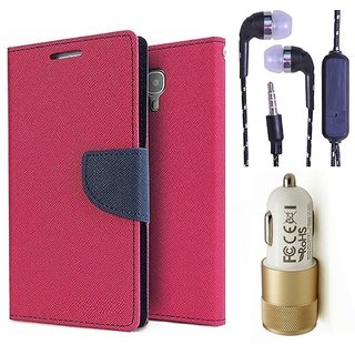Wallet Flip Cover For Sony Xperia C S39H  (Pink) With 3.5mm TARANG  Earphones with Mic + 2 Port Metal Car Charger(Color May vary)