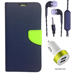 Wallet Flip Cover For HTC M8  (Blue) With 3.5mm TARANG  Earphones with Mic + 2 Port USB Car Charger Adapter(Color May vary)