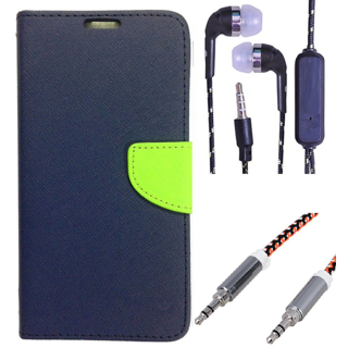 Wallet Flip Cover For Samsung Galaxy J2  (Blue) With 3.5mm TARANG  Earphones with Mic + Metal High Quality 3.5 mm Aux Cable-1 Meter (Color May vary)