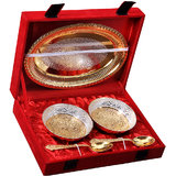 Rangsthali: Gold & Silver Plated Rich Brass Bowl And Tray With Spoon Set Of 5 Pc