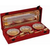Rangsthali New Designer Voguish Brass Designer Fruit Bowl Silver & Gold Plated