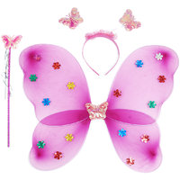 Aarika Butterfly Wings Magic Wand and Hairband Fairy Costume Set