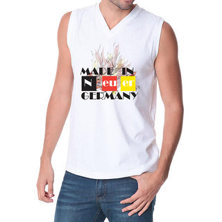 6th Cross Go For Germany V Neck Sleeveless (White)
