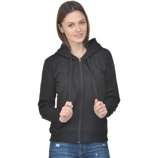 Raabta Full Sleeves Hooded Black Fleece Sweatshirt for womens