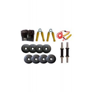 GYMNASE BEST QUALITY 50KG HOME GYM SET WITH 4FT  STRAIGHT ROD(FREE SKIPPING+HAND GLOVES+GYM GLOVES) +  +DUMBBELLS ROD+