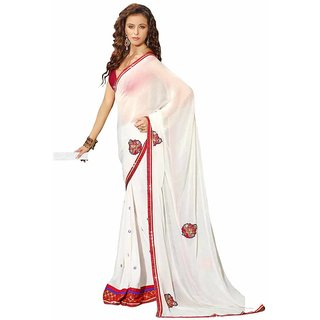 Surya Lifestyle Off White Colored Georgette Zari Resham  Embroidered Work Saree available at ShopClues for Rs.1965