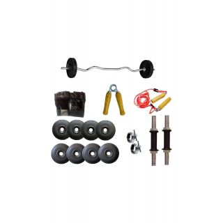 GYMNASE WEIGHTLIFTING 15KG HOME GYM SET COMBO WITH 3FT CURLING BAR(FREE SKIPPING+HAND GLOVES+GYM GLOVES) + GYM ACCESSORIES