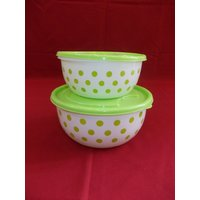 Polka Dot Plastic Container : Green