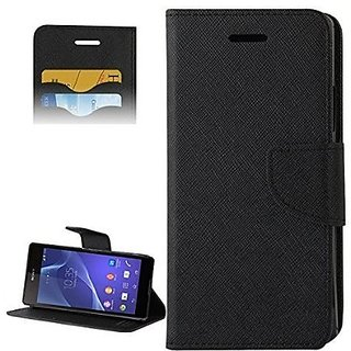 FANCY WALLET DIARY WITH STAND VIEW FLIP COVER For  Reliance Lyf Flame 2  (Black)