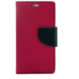 Fancy Artificial Leather Flip Cover For Reliance Lyf Water 2  (Pink)