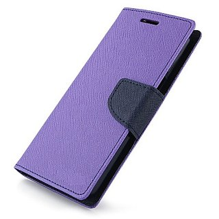 FANCY WALLET DIARY WITH STAND VIEW FLIP COVER For  Samsung Galaxy E5  (Purple)