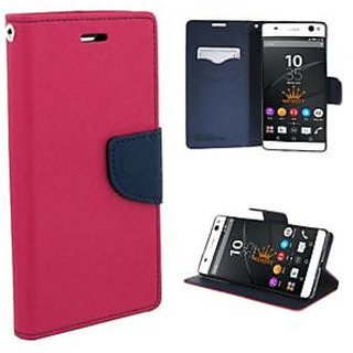 FANCY WALLET DIARY WITH STAND VIEW FLIP COVER For  HTC Desire 820  (Pink)