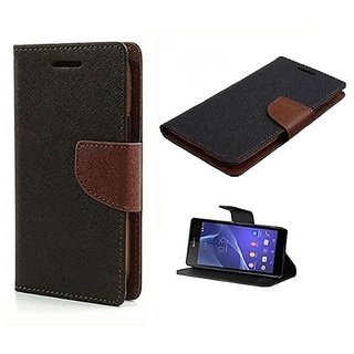 FANCY WALLET DIARY WITH STAND VIEW FLIP COVER For  Micromax Canvas Spark Q380  (Brown)