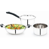 Mahavir 3Pc Stainless Steel Cookware Set
