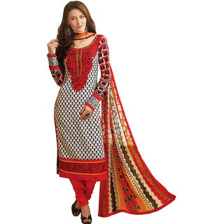 Prafful White Beautiful Cotton Dress-material with Dupatta